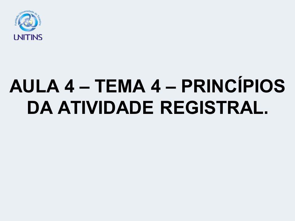 AULA 4 – TEMA 4 – PRINCÍPIOS DA ATIVIDADE REGISTRAL.
