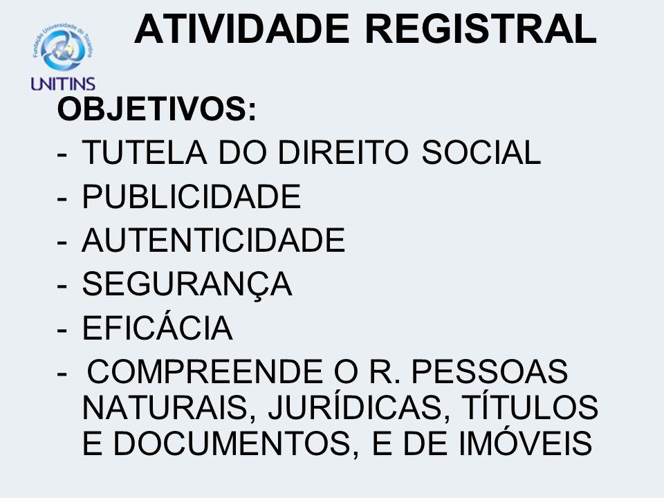 ATIVIDADE REGISTRAL OBJETIVOS: TUTELA DO DIREITO SOCIAL PUBLICIDADE