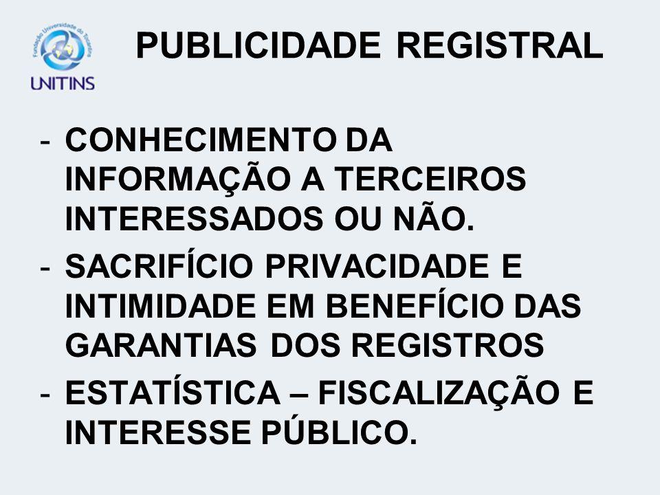 PUBLICIDADE REGISTRAL