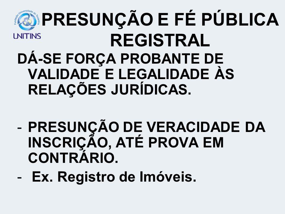 PRESUNÇÃO E FÉ PÚBLICA REGISTRAL