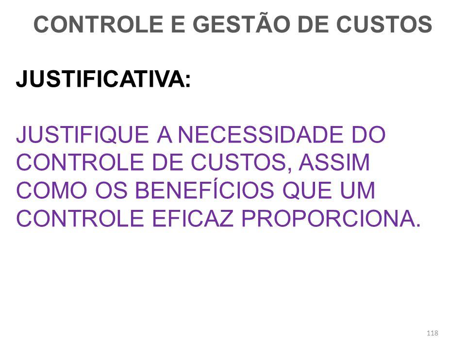 CONTROLE E GESTÃO DE CUSTOS