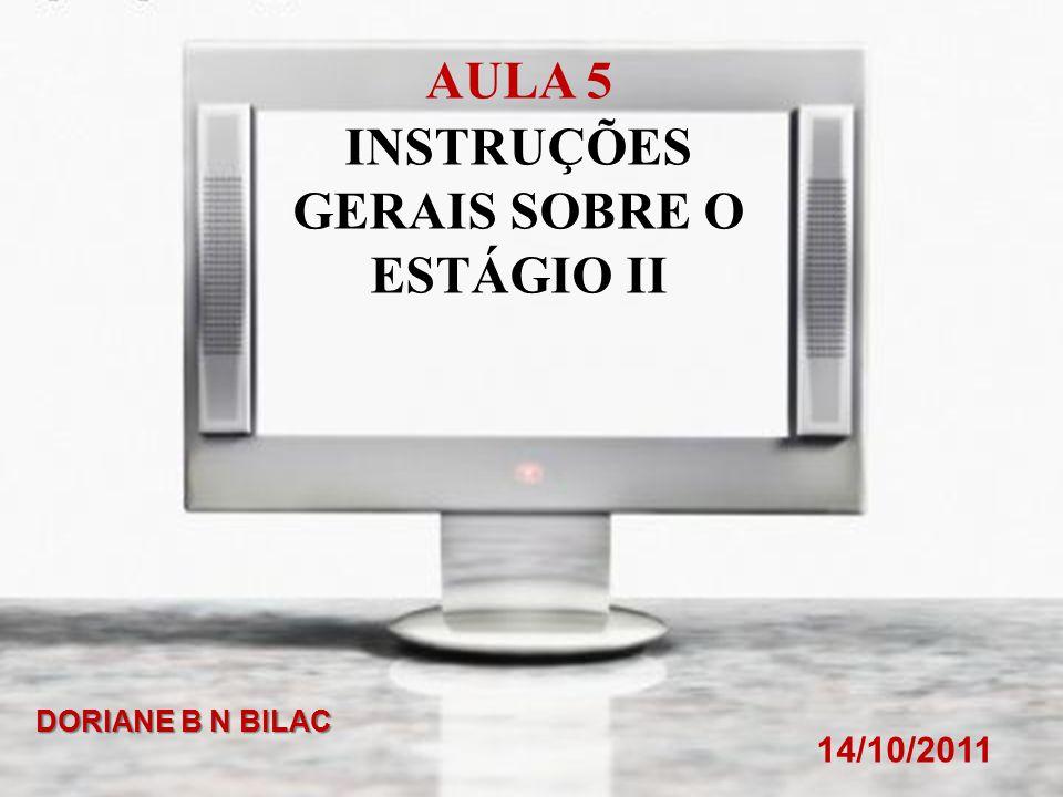 INSTRUÇÕES GERAIS SOBRE O ESTÁGIO II