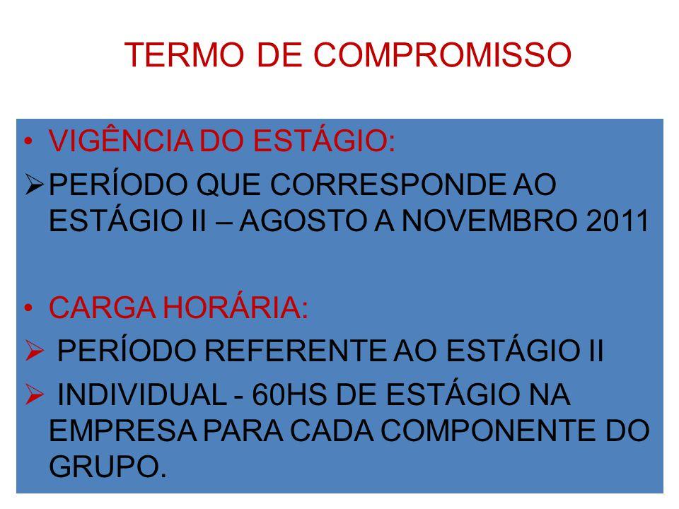 TERMO DE COMPROMISSO VIGÊNCIA DO ESTÁGIO: