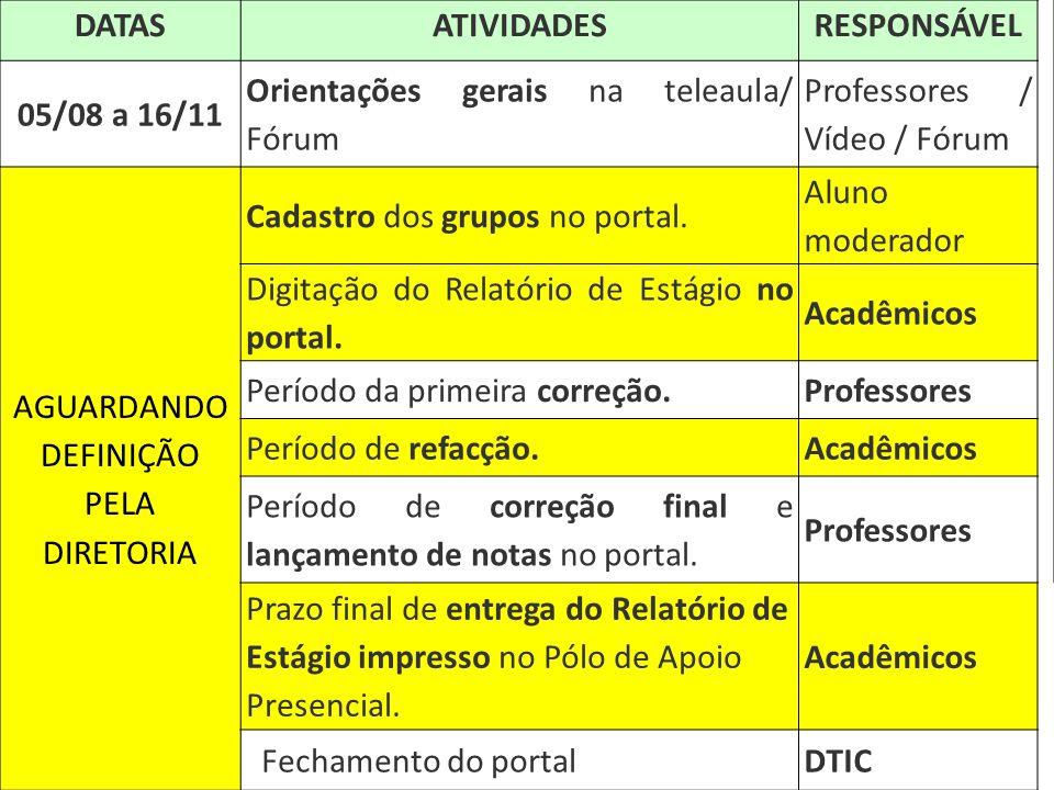 DATAS ATIVIDADES RESPONSÁVEL 05/08 a 16/11