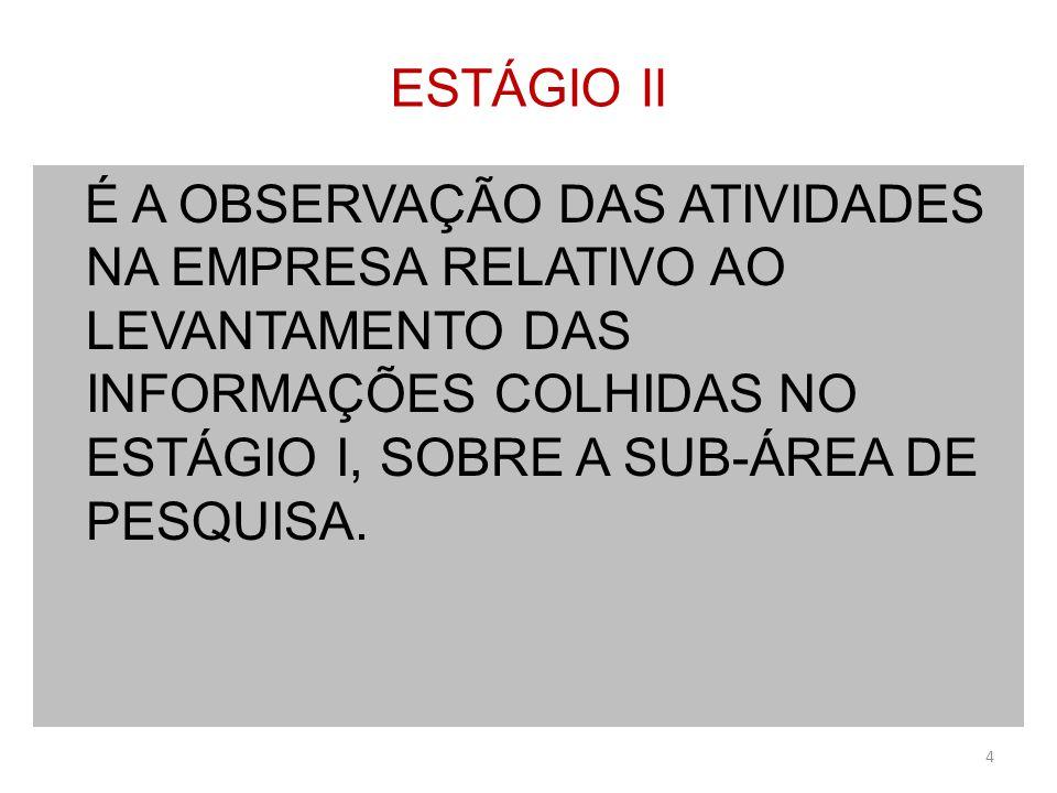 ESTÁGIO II É A OBSERVAÇÃO DAS ATIVIDADES NA EMPRESA RELATIVO AO LEVANTAMENTO DAS INFORMAÇÕES COLHIDAS NO ESTÁGIO I, SOBRE A SUB-ÁREA DE PESQUISA.