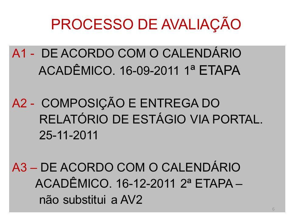 PROCESSO DE AVALIAÇÃO A1 - DE ACORDO COM O CALENDÁRIO