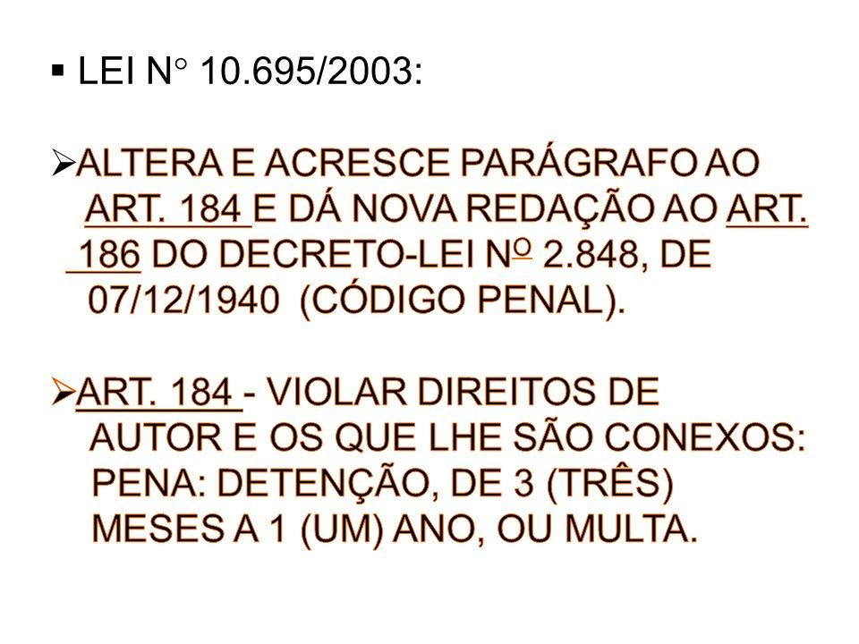 LEI N° 10.695/2003: ALTERA E ACRESCE PARÁGRAFO AO. ART. 184 E DÁ NOVA REDAÇÃO AO ART. 186 DO DECRETO-LEI NO 2.848, DE.