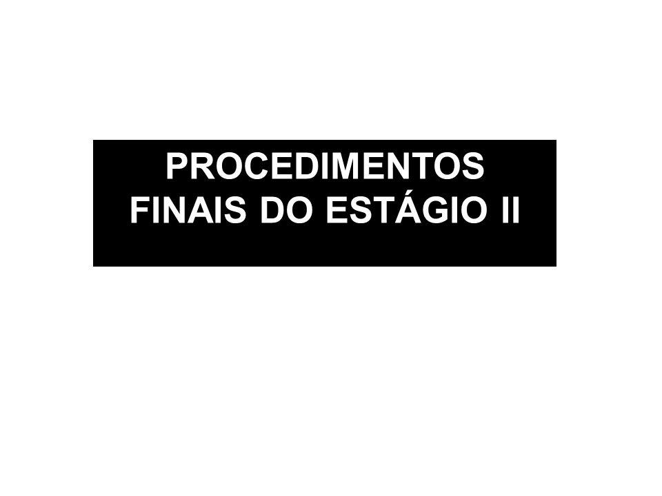 PROCEDIMENTOS FINAIS DO ESTÁGIO II