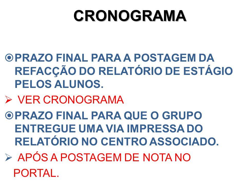 CRONOGRAMA PRAZO FINAL PARA A POSTAGEM DA REFACÇÃO DO RELATÓRIO DE ESTÁGIO PELOS ALUNOS. VER CRONOGRAMA.