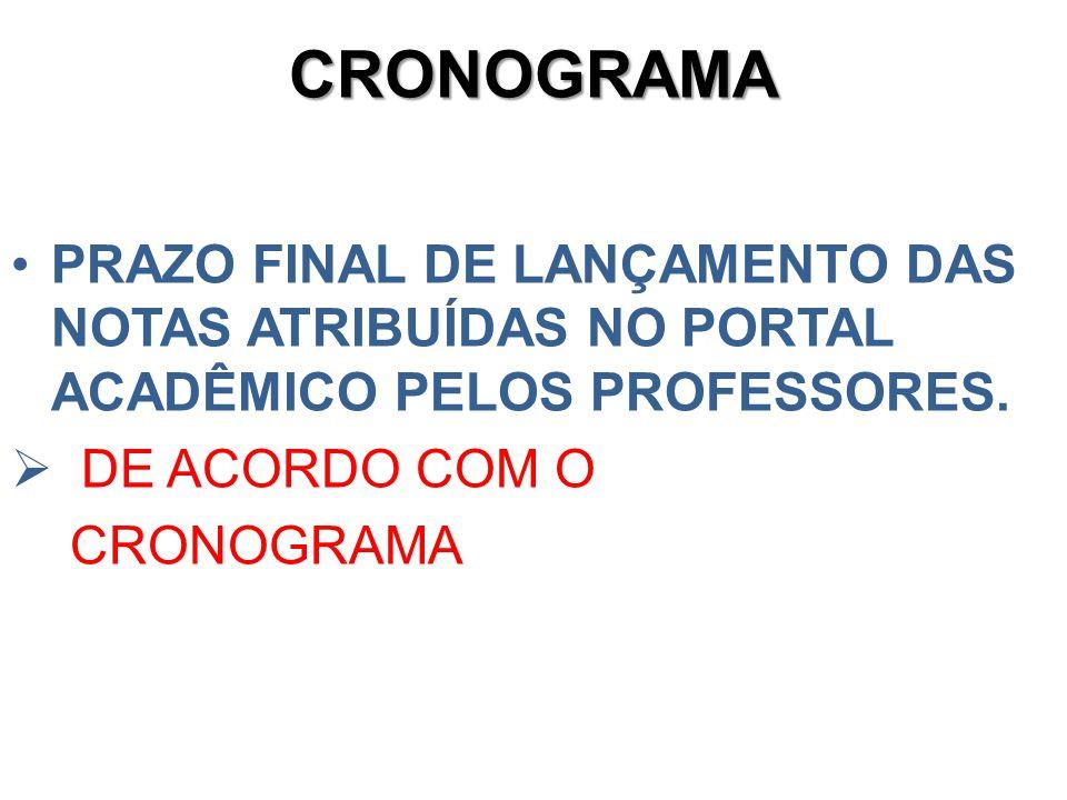CRONOGRAMA PRAZO FINAL DE LANÇAMENTO DAS NOTAS ATRIBUÍDAS NO PORTAL ACADÊMICO PELOS PROFESSORES. DE ACORDO COM O.