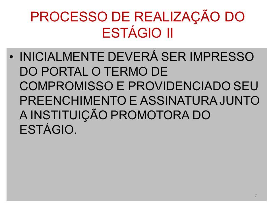 PROCESSO DE REALIZAÇÃO DO ESTÁGIO II