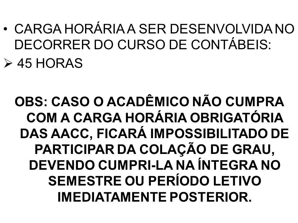 CARGA HORÁRIA A SER DESENVOLVIDA NO DECORRER DO CURSO DE CONTÁBEIS: