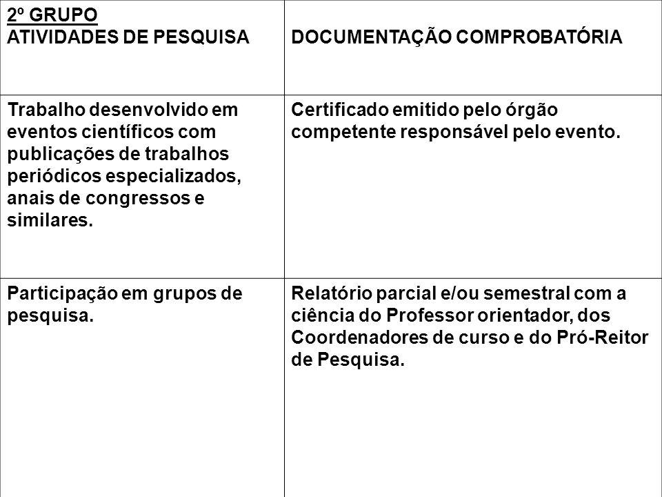 2º GRUPO ATIVIDADES DE PESQUISA. DOCUMENTAÇÃO COMPROBATÓRIA.