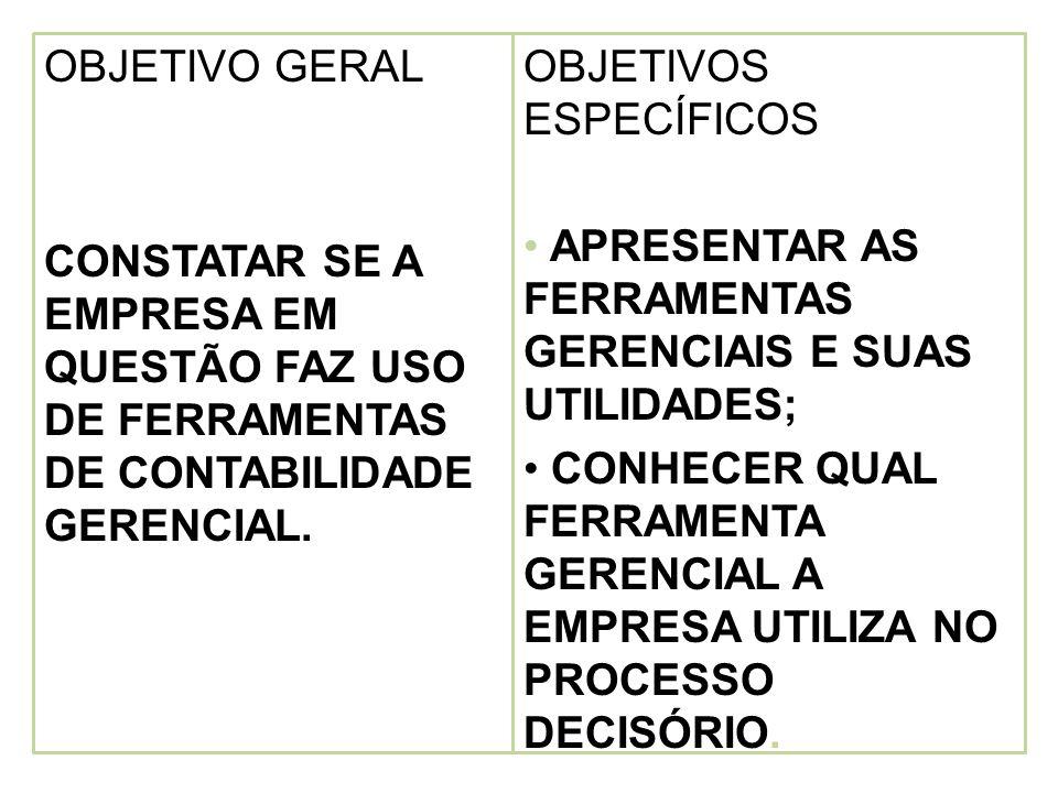 OBJETIVO GERAL CONSTATAR SE A EMPRESA EM QUESTÃO FAZ USO DE FERRAMENTAS DE CONTABILIDADE GERENCIAL.