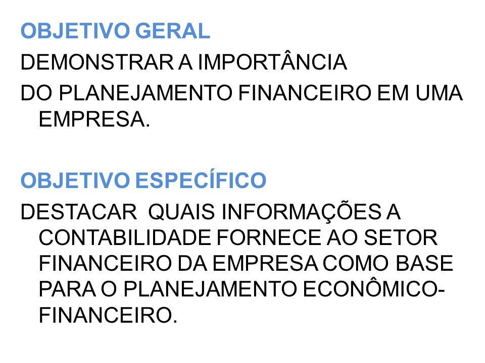 OBJETIVO GERAL DEMONSTRAR A IMPORTÂNCIA DO PLANEJAMENTO FINANCEIRO EM UMA EMPRESA.