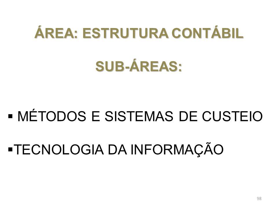 ÁREA: ESTRUTURA CONTÁBIL