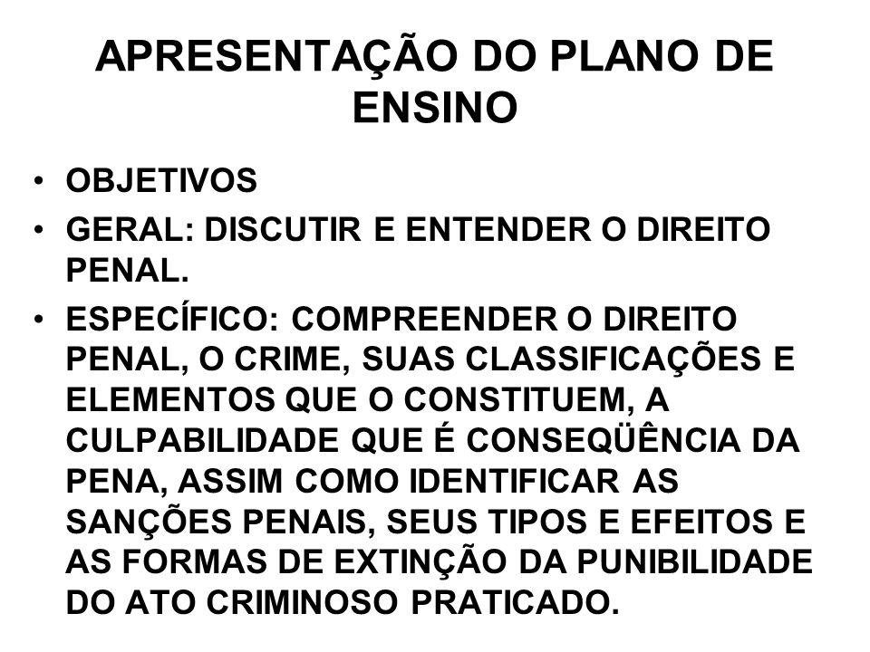 APRESENTAÇÃO DO PLANO DE ENSINO