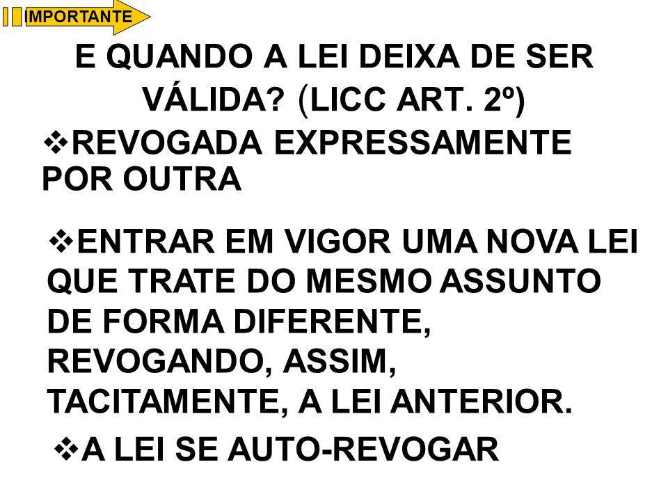 E QUANDO A LEI DEIXA DE SER VÁLIDA (LICC ART. 2º)