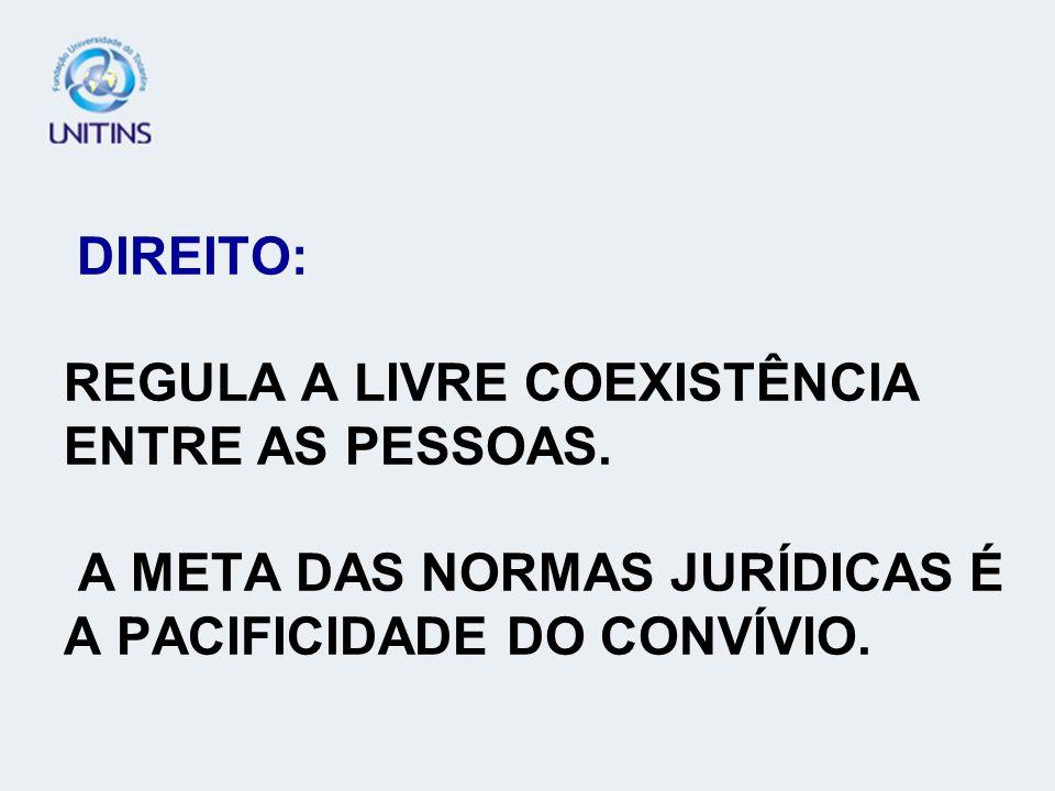 DIREITO: REGULA A LIVRE COEXISTÊNCIA ENTRE AS PESSOAS