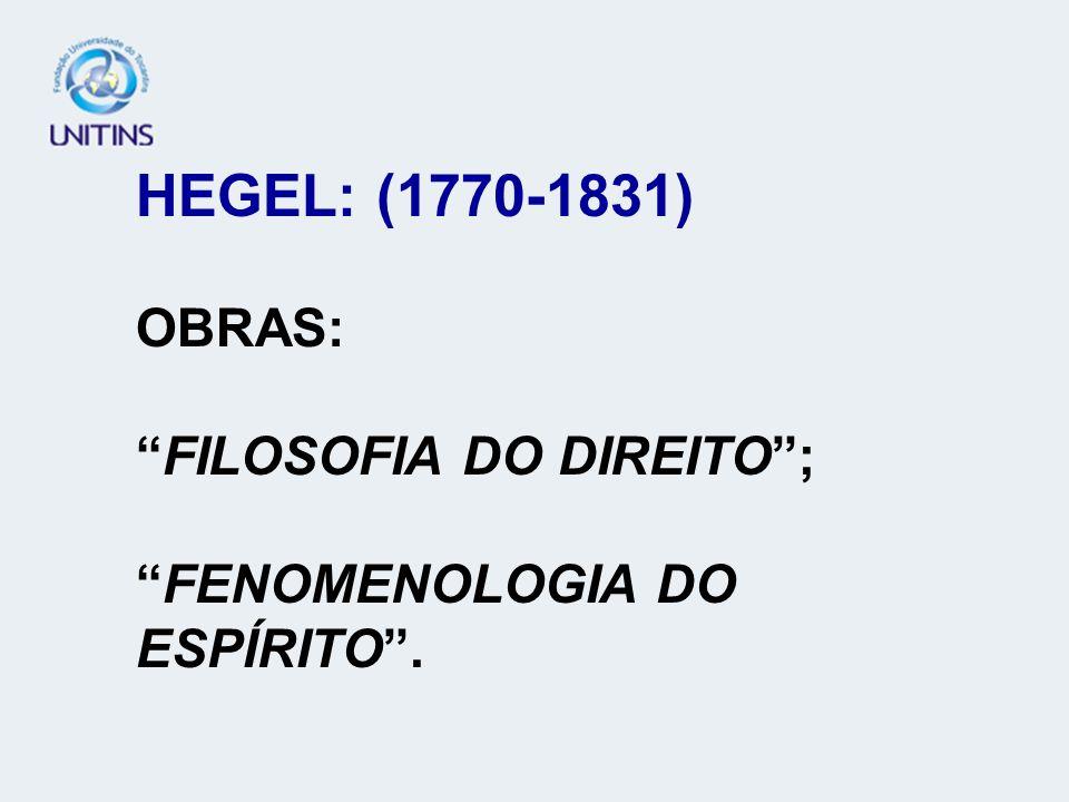 HEGEL: (1770-1831) OBRAS: FILOSOFIA DO DIREITO ; FENOMENOLOGIA DO ESPÍRITO .