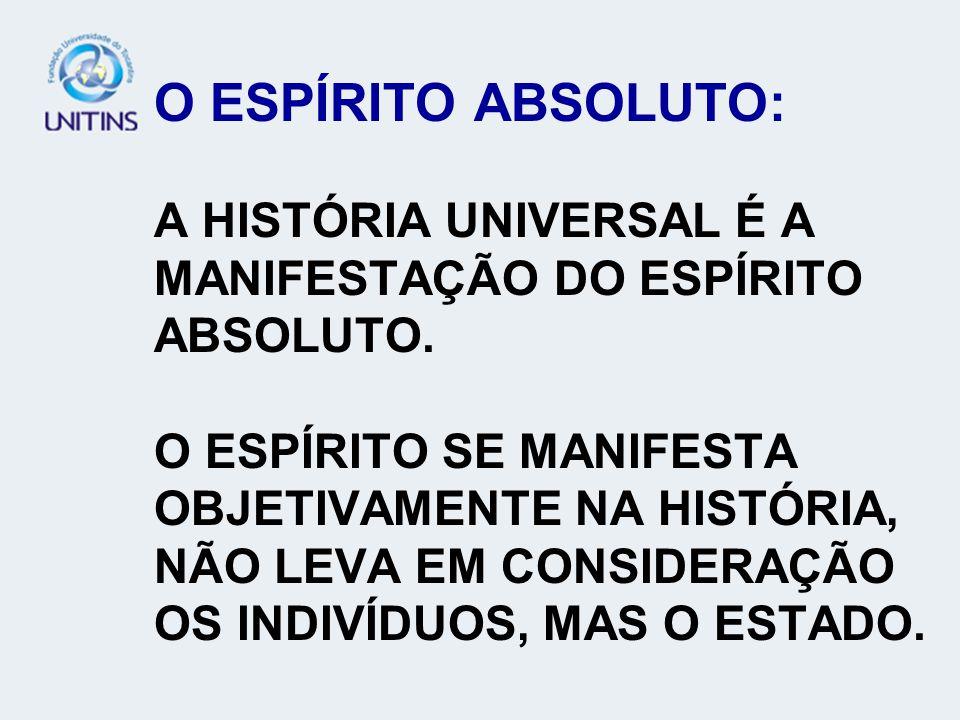 O ESPÍRITO ABSOLUTO: A HISTÓRIA UNIVERSAL É A MANIFESTAÇÃO DO ESPÍRITO ABSOLUTO.