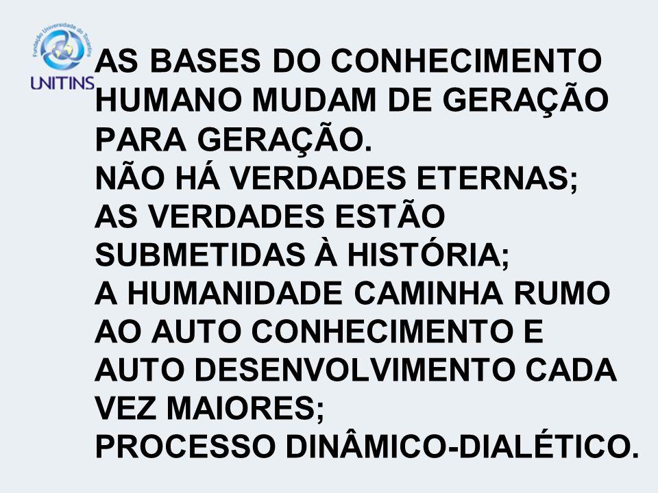 AS BASES DO CONHECIMENTO HUMANO MUDAM DE GERAÇÃO PARA GERAÇÃO