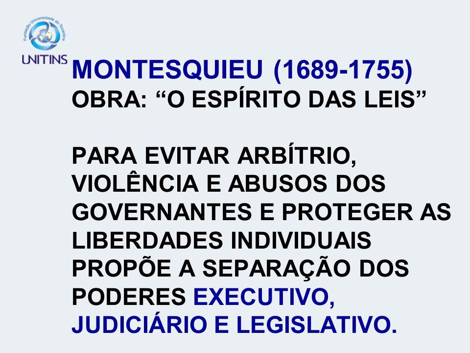 MONTESQUIEU (1689-1755) OBRA: O ESPÍRITO DAS LEIS PARA EVITAR ARBÍTRIO, VIOLÊNCIA E ABUSOS DOS GOVERNANTES E PROTEGER AS LIBERDADES INDIVIDUAIS PROPÕE A SEPARAÇÃO DOS PODERES EXECUTIVO, JUDICIÁRIO E LEGISLATIVO.