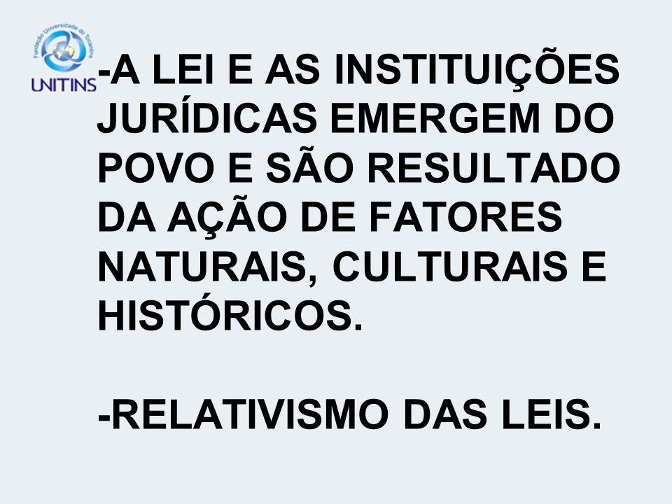-A LEI E AS INSTITUIÇÕES JURÍDICAS EMERGEM DO POVO E SÃO RESULTADO DA AÇÃO DE FATORES NATURAIS, CULTURAIS E HISTÓRICOS.