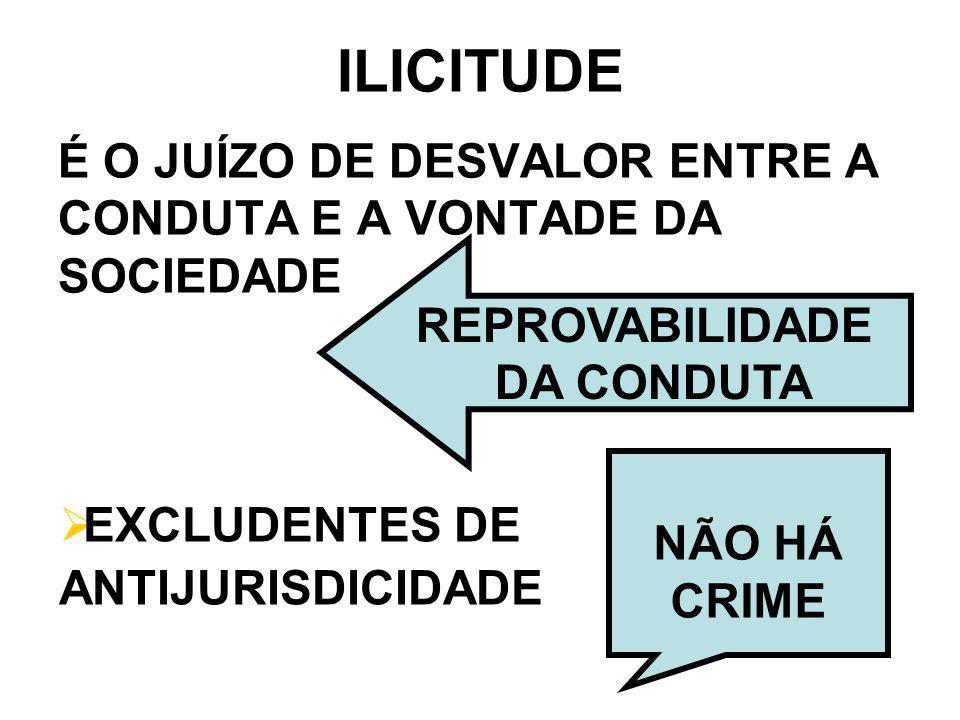 ILICITUDE É O JUÍZO DE DESVALOR ENTRE A CONDUTA E A VONTADE DA SOCIEDADE. REPROVABILIDADE. DA CONDUTA.