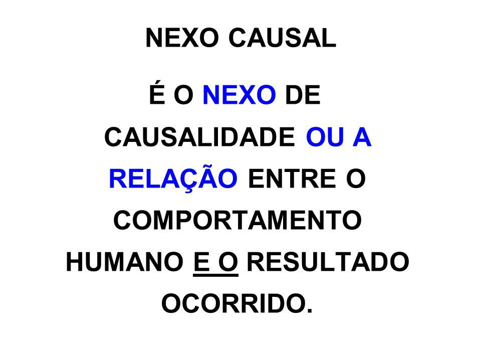 NEXO CAUSAL É O NEXO DE CAUSALIDADE OU A RELAÇÃO ENTRE O COMPORTAMENTO HUMANO E O RESULTADO OCORRIDO.