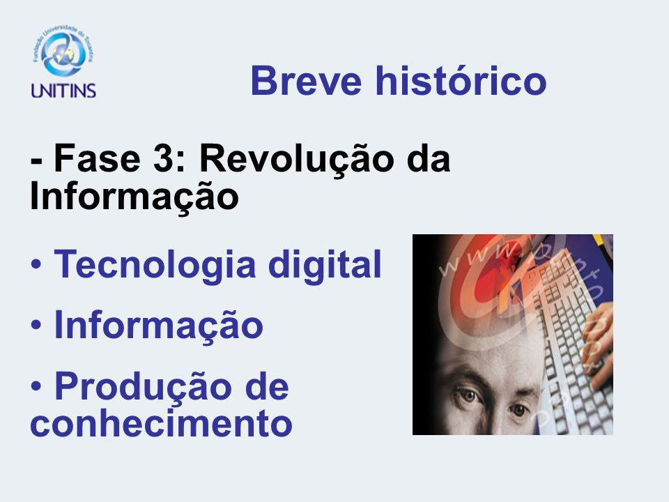 Breve histórico - Fase 3: Revolução da Informação Tecnologia digital