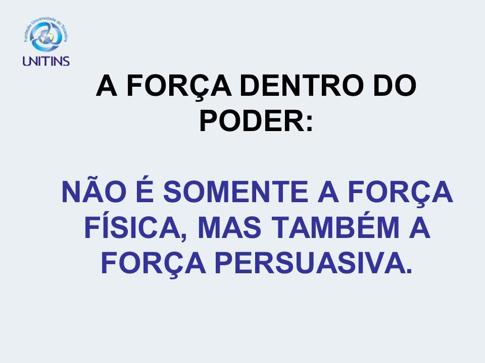A FORÇA DENTRO DO PODER: NÃO É SOMENTE A FORÇA FÍSICA, MAS TAMBÉM A FORÇA PERSUASIVA.