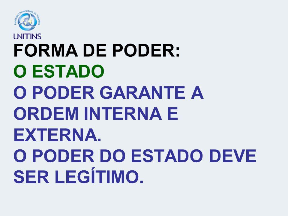 FORMA DE PODER: O ESTADO O PODER GARANTE A ORDEM INTERNA E EXTERNA