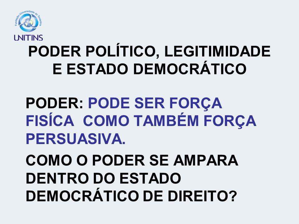 PODER POLÍTICO, LEGITIMIDADE E ESTADO DEMOCRÁTICO