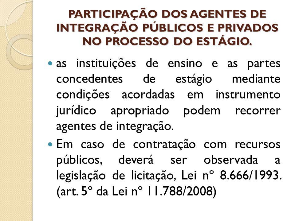 PARTICIPAÇÃO DOS AGENTES DE INTEGRAÇÃO PÚBLICOS E PRIVADOS NO PROCESSO DO ESTÁGIO.