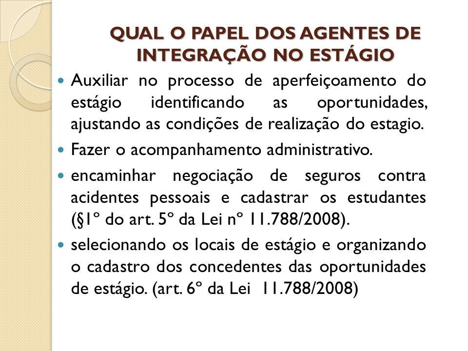 QUAL O PAPEL DOS AGENTES DE INTEGRAÇÃO NO ESTÁGIO