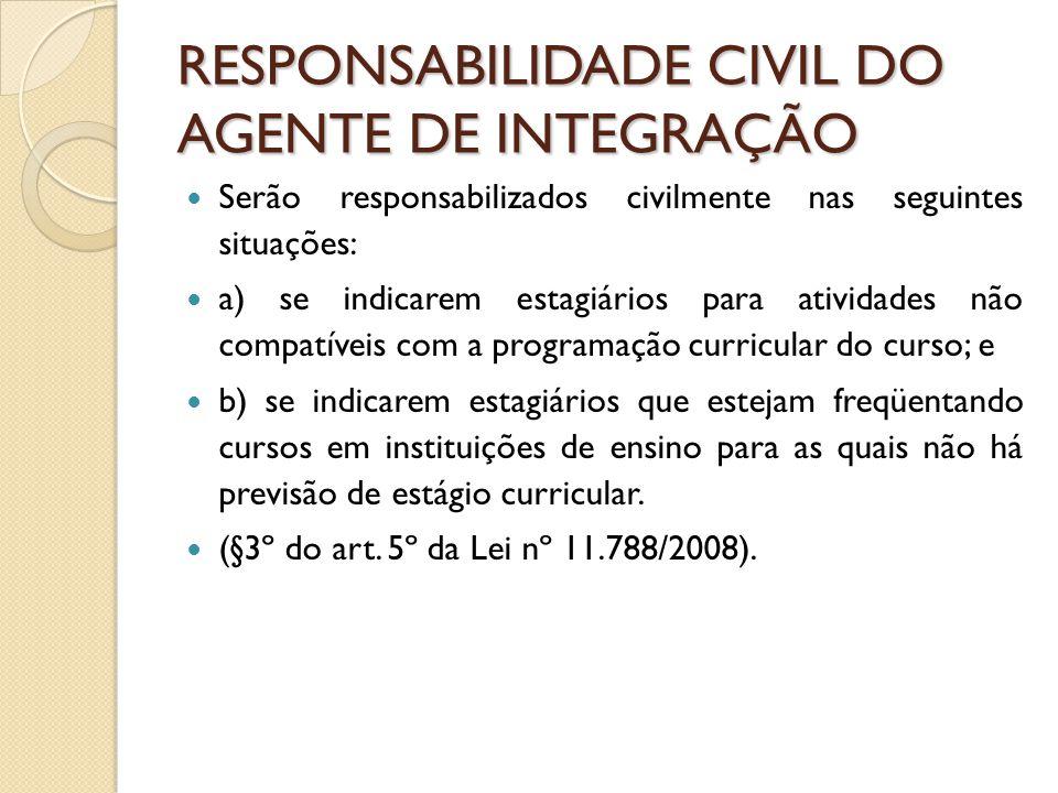 RESPONSABILIDADE CIVIL DO AGENTE DE INTEGRAÇÃO
