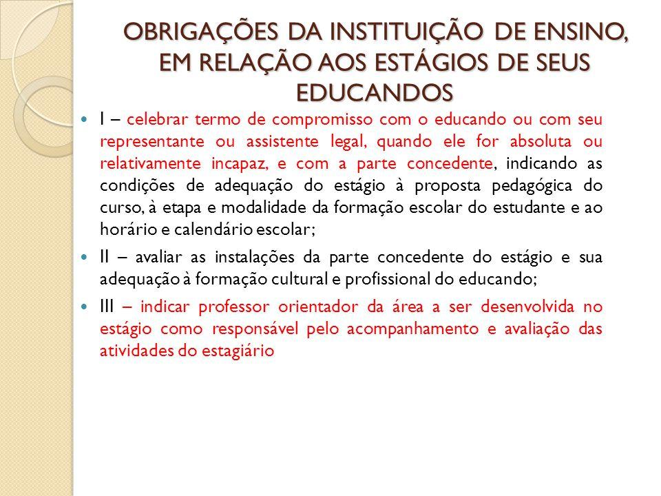 OBRIGAÇÕES DA INSTITUIÇÃO DE ENSINO, EM RELAÇÃO AOS ESTÁGIOS DE SEUS EDUCANDOS