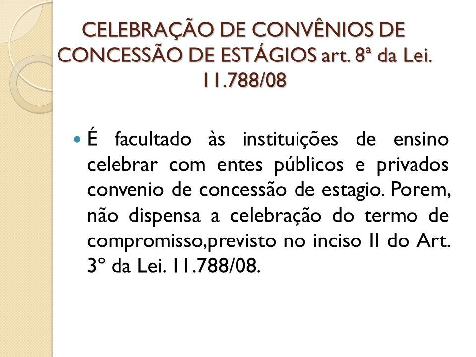 CELEBRAÇÃO DE CONVÊNIOS DE CONCESSÃO DE ESTÁGIOS art. 8ª da Lei. 11
