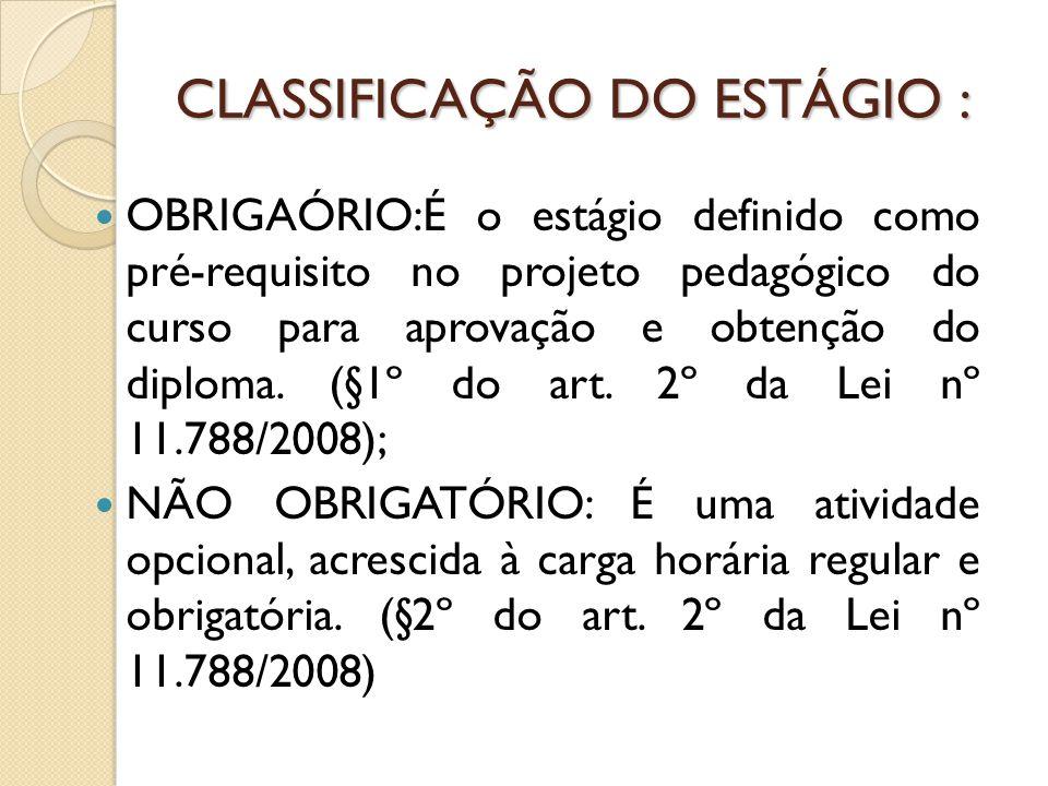 CLASSIFICAÇÃO DO ESTÁGIO :