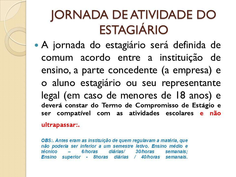 JORNADA DE ATIVIDADE DO ESTAGIÁRIO