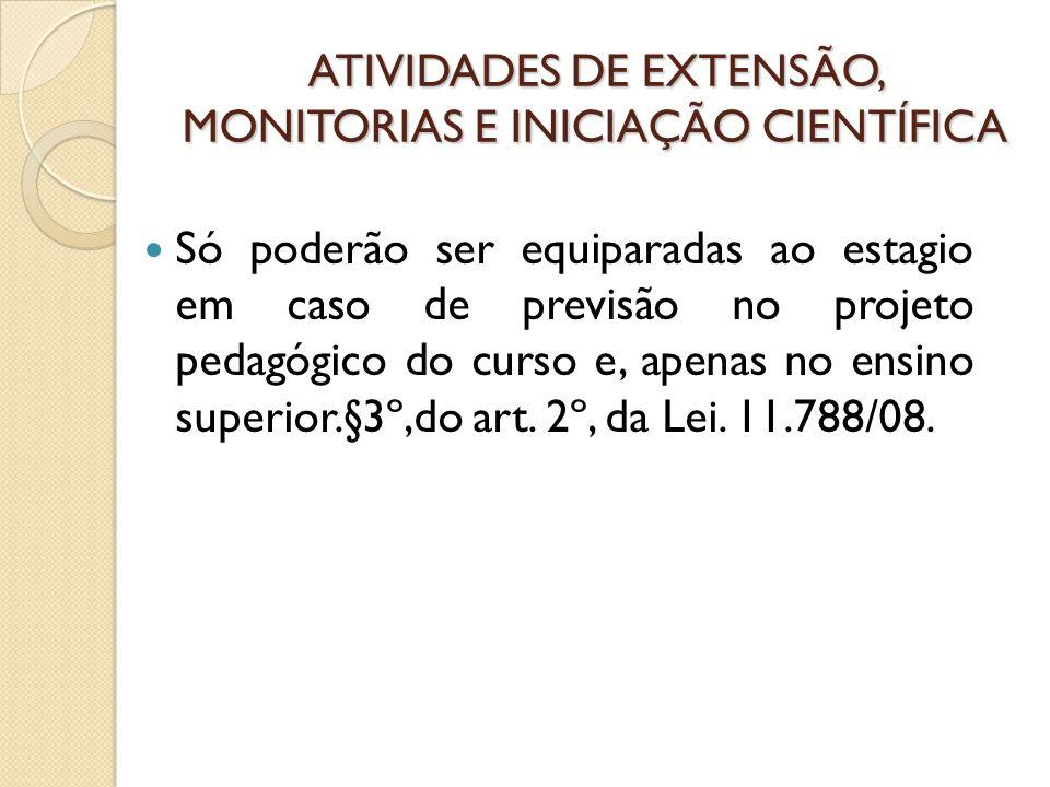 ATIVIDADES DE EXTENSÃO, MONITORIAS E INICIAÇÃO CIENTÍFICA