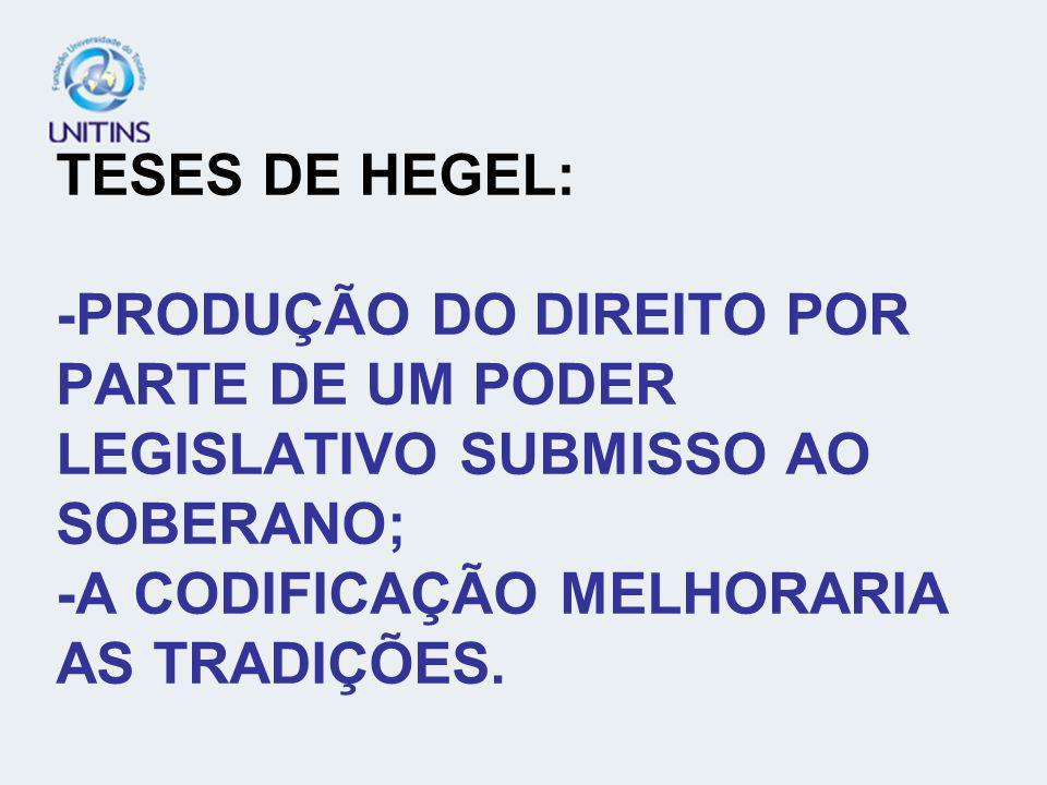 TESES DE HEGEL: -PRODUÇÃO DO DIREITO POR PARTE DE UM PODER LEGISLATIVO SUBMISSO AO SOBERANO; -A CODIFICAÇÃO MELHORARIA AS TRADIÇÕES.