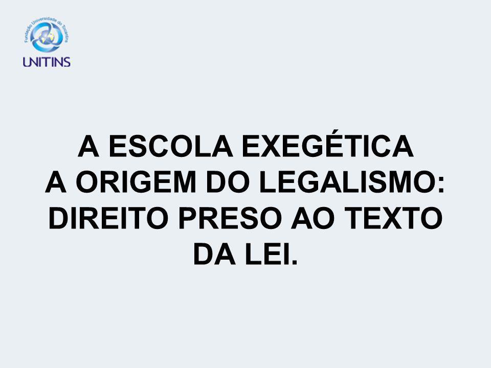 A ESCOLA EXEGÉTICA A ORIGEM DO LEGALISMO: DIREITO PRESO AO TEXTO DA LEI.