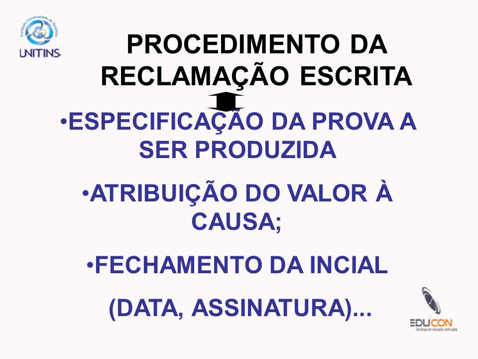 PROCEDIMENTO DA RECLAMAÇÃO ESCRITA