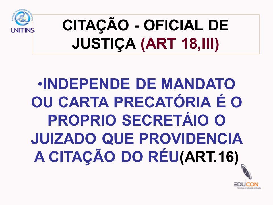 CITAÇÃO - OFICIAL DE JUSTIÇA (ART 18,III)