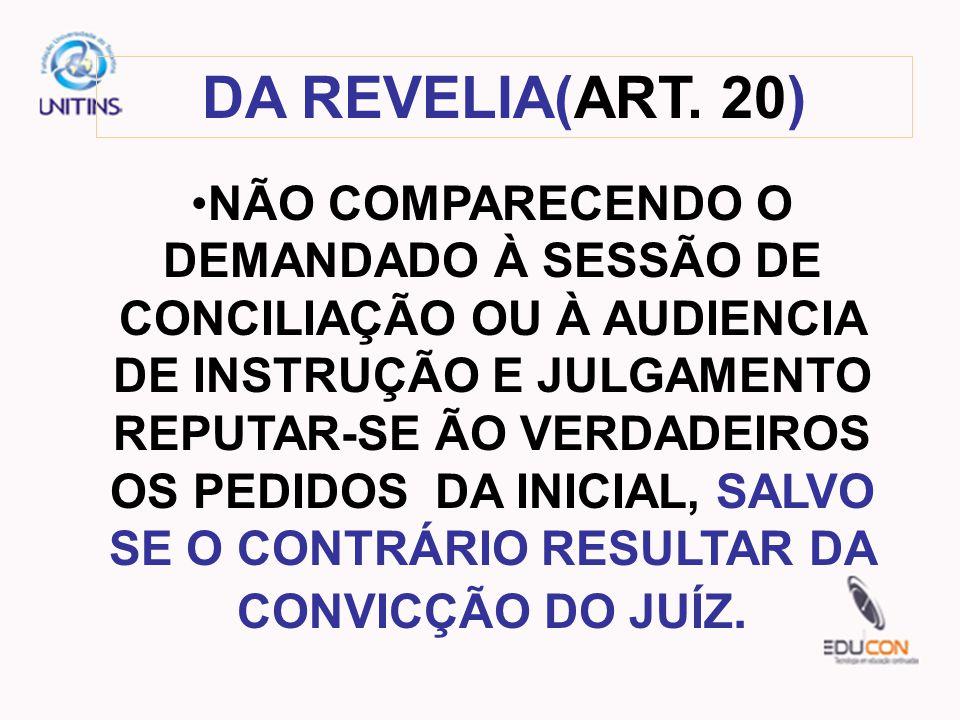 DA REVELIA(ART. 20)