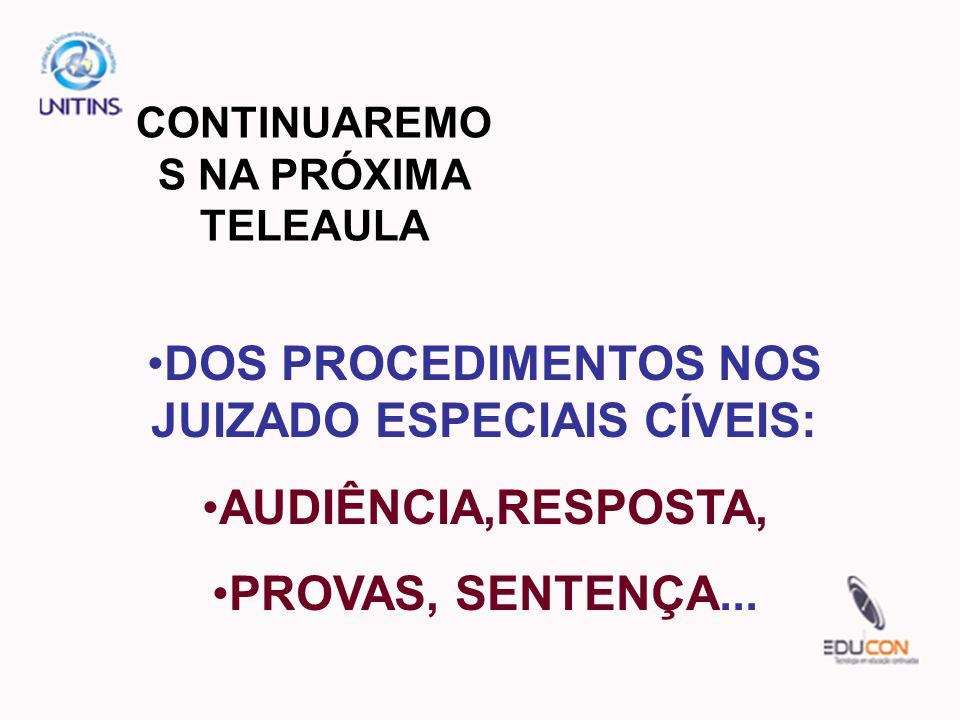 DOS PROCEDIMENTOS NOS JUIZADO ESPECIAIS CÍVEIS: AUDIÊNCIA,RESPOSTA,