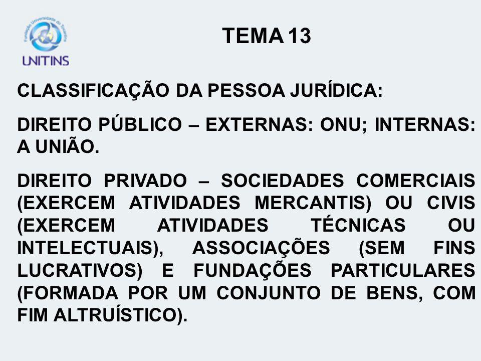 TEMA 13 CLASSIFICAÇÃO DA PESSOA JURÍDICA: