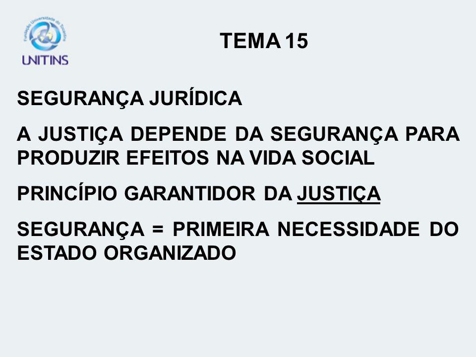 TEMA 15 SEGURANÇA JURÍDICA